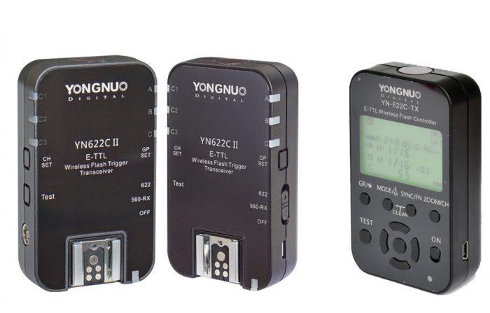 Set med sändare och mottagare med TTL-automatik